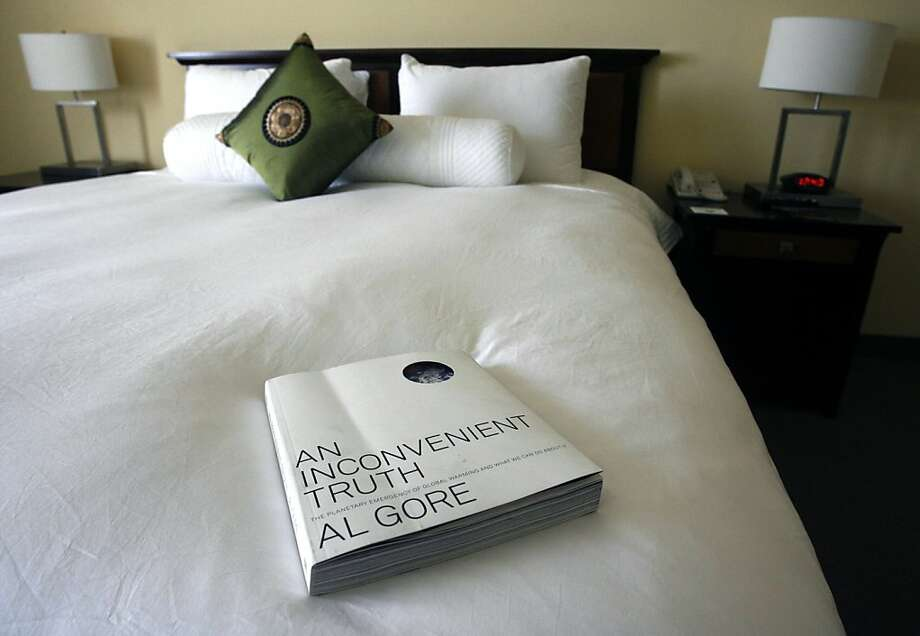 """In addition to the Holy Bible, every guest room has copies of Al Gore's """"An Inconvenient Truth"""" at the Gaia Napa Valley Hotel and Spa in American Canyon, Calif. Photo: Paul Chinn, The Chronicle"""