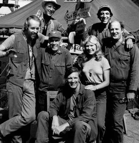 FILE - In this Jan. 24, 1882 photo provided by CBS, the cast members of M*A*S*H* , from left: Mike Farrell, Bill Christopher, Harry Morgan, Alda, Loretta Swit, Jamie Farr and David Ogden Stiers.  (AP Photo/CBS) Photo: Anonymous