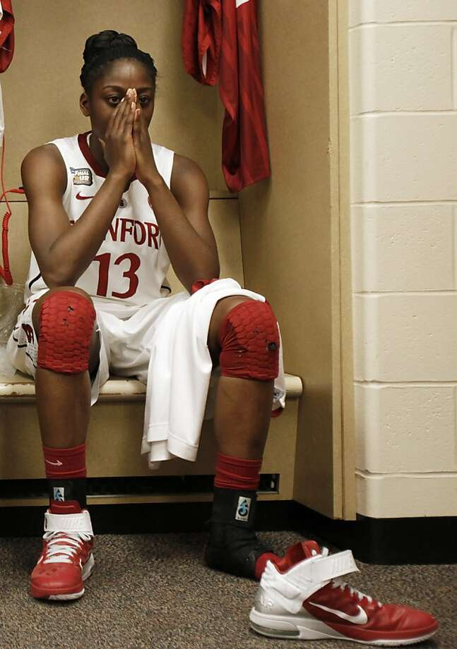 Stanford's Chiney Ogwumike (13) reacts in the locker room after Stanford's 63-62 loss to Texas A&M in a women's NCAA Final Four semifinal college basketball game in Indianapolis, Sunday, April 3, 2011. Photo: Amy Sancetta, AP