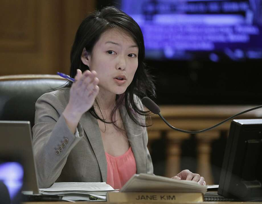 San Francisco Board of Supervisor Jane Kim gestures during their meeting in San Francisco, Tuesday, April 5, 2011. A tax break to keep Twitter from fleeing San Francisco is coming up for a vote by city lawmakers as part of a package to revive a blighted neighborhood. The vote by the Board of Supervisors expected Tuesday afternoon would exempt the microblogging service from paying the city's payroll tax on new hires. Kim supported the tax exemption. Photo: Paul Sakuma, AP