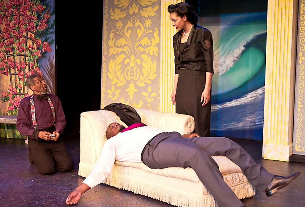 """Olivia (Rebecca Frank) entreats Feste (Charles Branklyn, left) to help with her drunken uncle Sir Toby Belch (J. Darryl Williams) in African-American Shakespeare Company's production of """"Twelfth Night"""""""