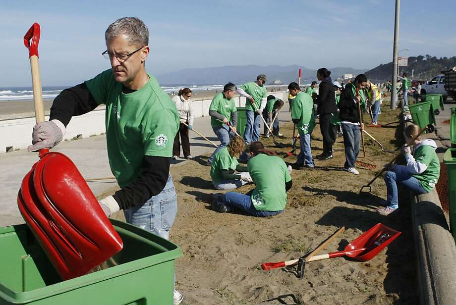 Rob Webb a Sacramento Starbucks District Manager drops weeds into a bin during an Ocean Beach cleanup effort in San Francisco Calif, on Saturday, April 9, 2011. Photo: Alex Washburn, The Chronicle
