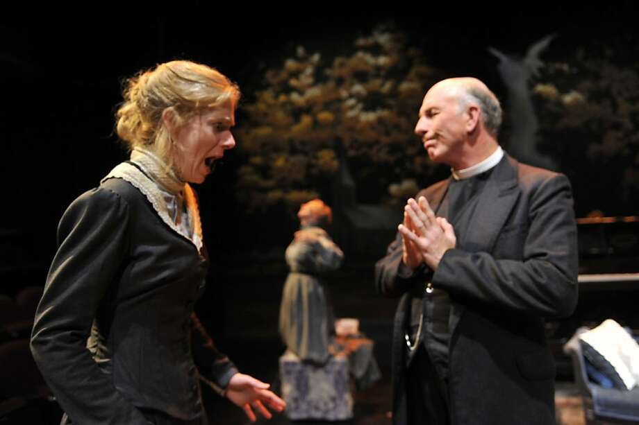 """Alma (Beth Wilmurt, left) doesn't take it well when her father, Rev. Winemiller (Charles Dean) warns her about her eccentric mannerisms in Aurora Theatre's staging of Tennessee Williams' """"The Eccentricities of a Nightingale"""" Photo: David Allen"""