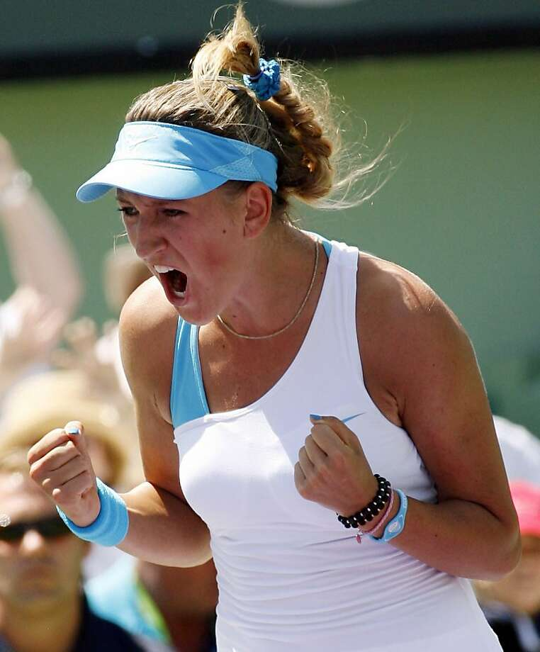 Victoria Azarenka, of Belarus, reacts after her 6-1, 6-4 win against Maria Sharapova, of Russia, in the women's final at the Sony Ericsson Open tennis tournament in Key Biscayne, Saturday, April 2, 2011. Photo: Jeffrey M Boan, AP