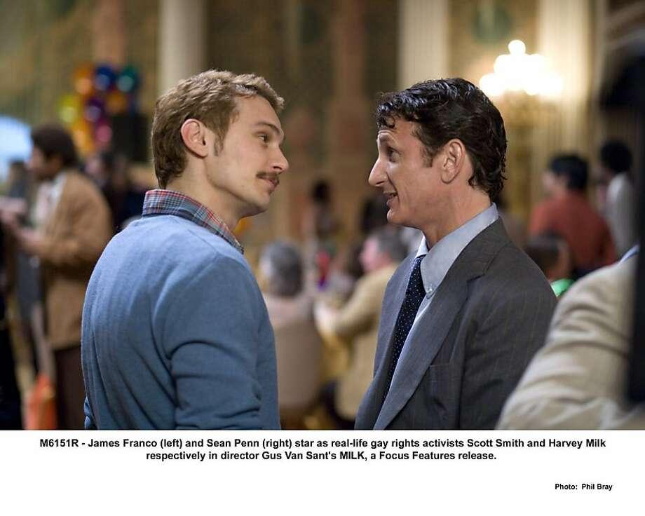 "The movie ""Milk."" (2008) James Franco and Sean Penn Photo: Focus Features, Phil Bray"