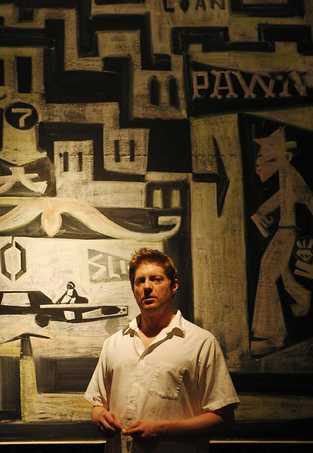 Brian Barneclo poses in front of his chalk drawing on the back wall of Rye, a bar at 688 Geary street in San Francisco, on Wednesday March 2, 2011. Barneclo is an artist currently exhibiting painting and chalk artwork at Rye. Photo: Anna Vignet, The Chronicle