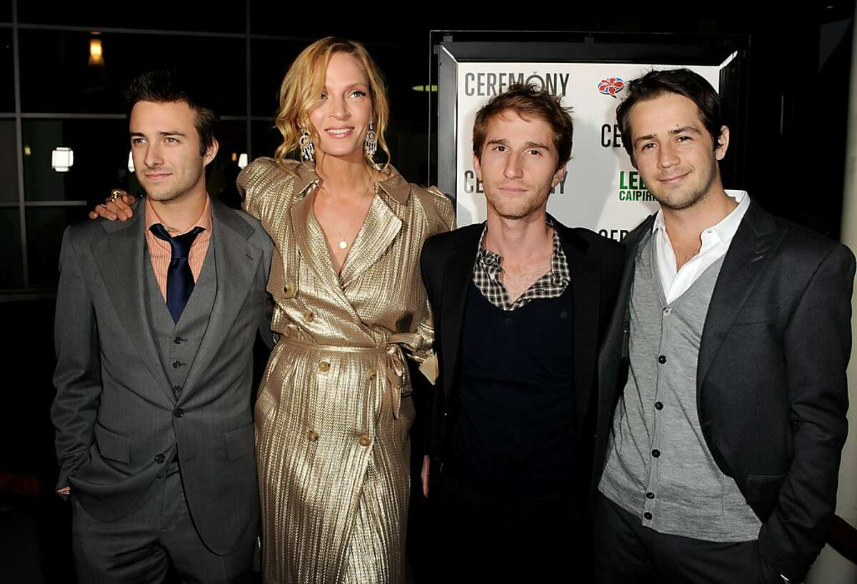 """LOS ANGELES, CA - MARCH 22: (L-R) Actors Reece Thompson, Uma Thurman, director Max Winkler and actor Michael Angarano pose at the premiere of Magnolia Picture's """"Ceremony"""" at the Arclight Theater on March 22, 2011 in Los Angeles, California."""