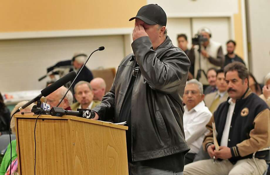 Chris Torres holds back his emotions as he addresses the Public Utilities Commission about the fatal pipeline explosion, Tuesday April 5, 2011, in San Bruno, Calif. Several family members of Torres' were burned and his mother was killed in last Septembers  explosion. Photo: Lacy Atkins, The Chronicle