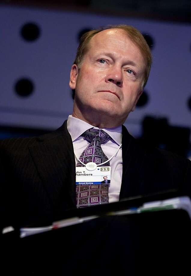 John Chambers, chief executive officer of Cisco Systems Inc., attends a session on the second day of the World Economic Forum (WEF) Annual Meeting 2011 in Davos, Switzerland, on Thursday, Jan. 27, 2011. The World Economic Forum in Davos will be attended by a record number of chief executive officers, with a total of 2,500 delegates attending the five-day meeting. Photographer: Andrew Harrer/Bloomberg *** Local Caption *** John Chambers Photo: Andrew Harrer, Bloomberg