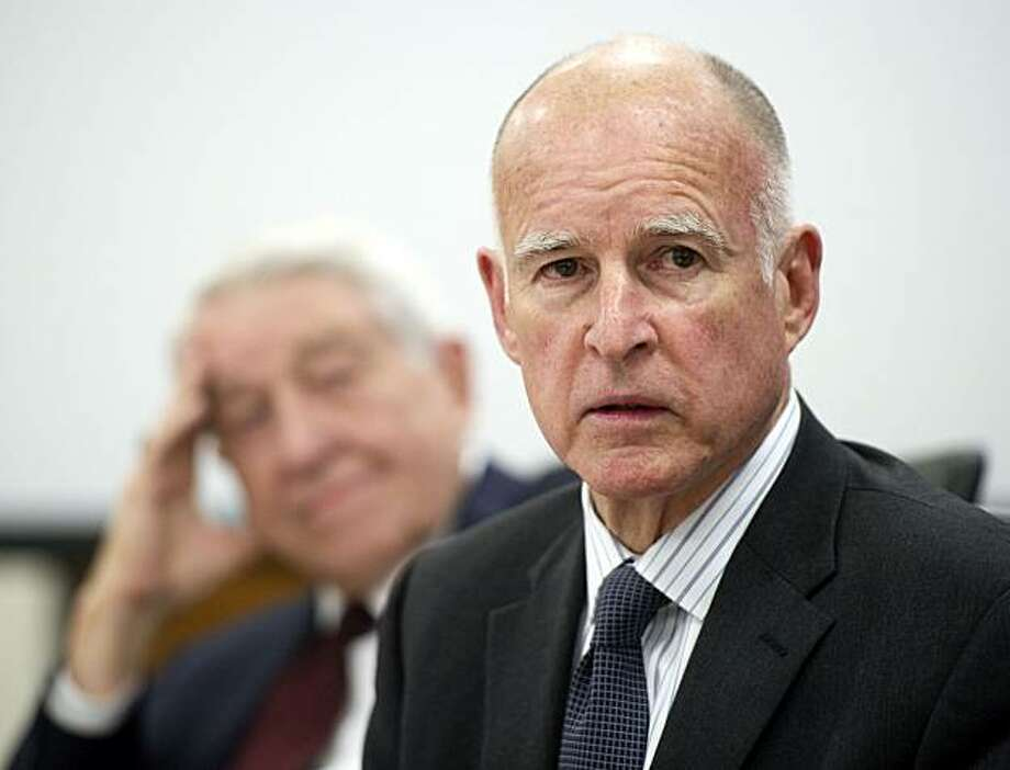 Gov. Jerry Brown, speaks to members of the California Community Colleges board of governors were he asked for help in getting Republicans to vote on a budget by his March 10 deadline on Monday morning, March 7, 2011, in Sacramento, Calif. (AP Photo/The Sacramento Bee, Hector Amezcua)  MAGS OUT; TV OUT; NO SALES; MANDATORY CREDIT Photo: Hector Amezcua, Associated Press