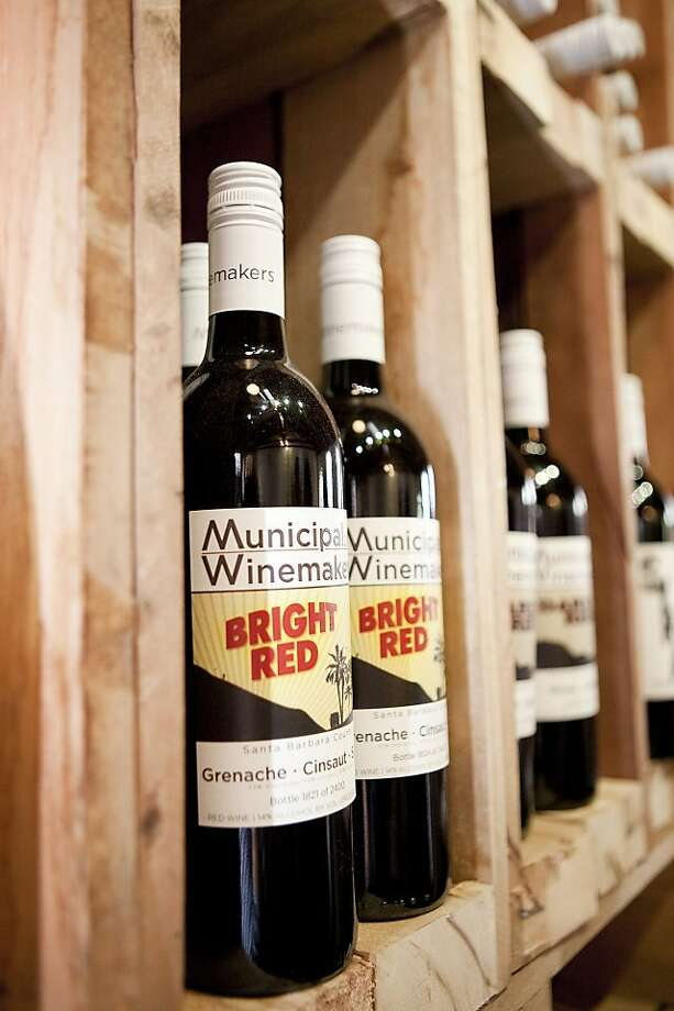 Bottles of Bright Red wine by Municipal Winemakers in Santa Barbara. Photo: Loredana Photography