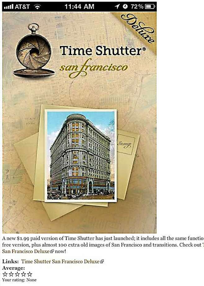 Screenshot from timeshutter.com, a geo-coded app that allows users to compare San Francisco of today with old-time photos. Photo: Timeshutter.com
