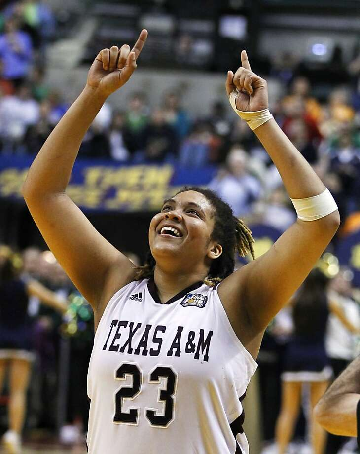 Texas A&M's Danielle Adams celebrates after Texas A&M's 76-70 win over Notre Dame in the women's NCAA basketball championship game in Indianapolis, Tuesday, April 5, 2011. Photo: Michael Conroy, AP