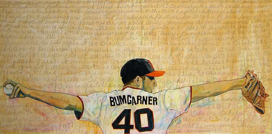 "Toby Tover Krein ""Bumgarner World Series 2010"" 2011 acrylic and carbon on canvas 24 x 48 inches Photo: Special To The Chronicle"