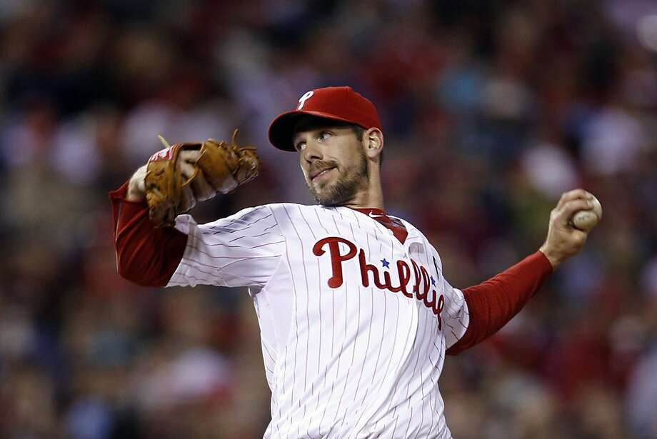Philadelphia Phillies' Cliff Lee pitches in the third inning of a baseball game against the Houston Astros, Saturday, April 2, 2011, in Philadelphia. Photo: Matt Slocum, AP