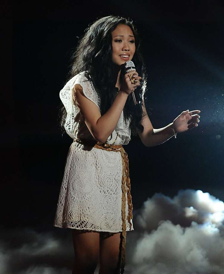 """In this Wednesday, March 30, 2011 photo released by Fox, Thia Megia performs in front of the judges on the singing competition series, """"American Idol,""""  in Los Angeles. Photo: Michael Becker, Fox"""