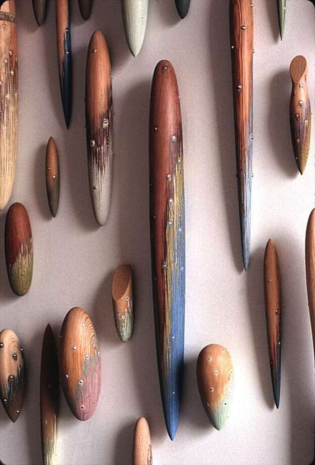 """""""Charmers"""" (2001-11) wood sculpture by Christoper Romer Photo: Unknown, The Compound Gallery. Oakland"""