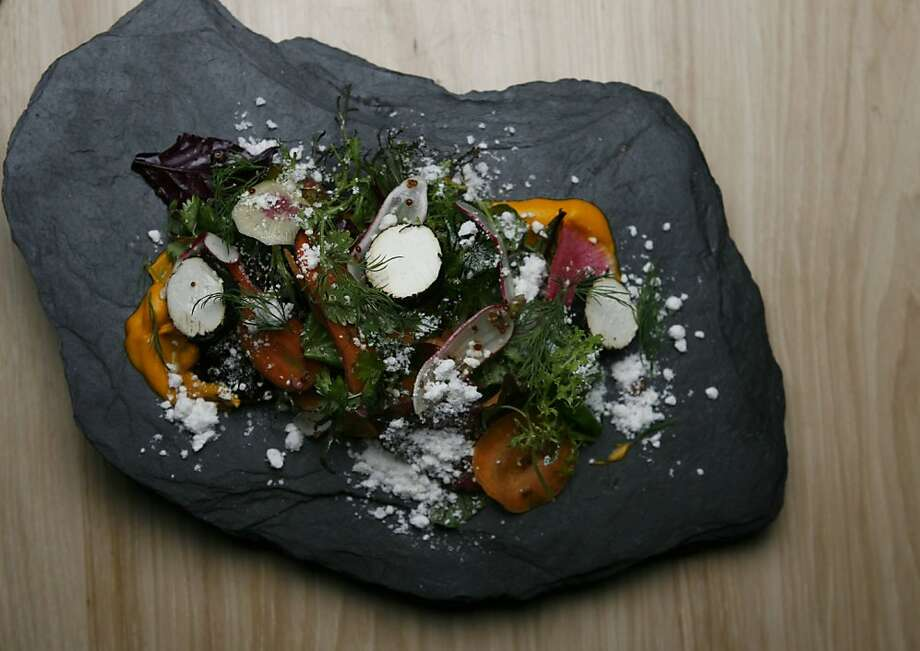Commonwealth offers a shaved radish salad adorned with quinoa, slivered carrot, walnut and ash coated goat cheese.  Commonwealth is a Progressive American restaurant in the Mission District under the direction of executive chef Jason Fox and chef de cuisine Ian Muntzert in San Francisco, Calif. on Saturday, Nov. 20, 2010. Photo: Kirsten Aguilar, The Chronicle