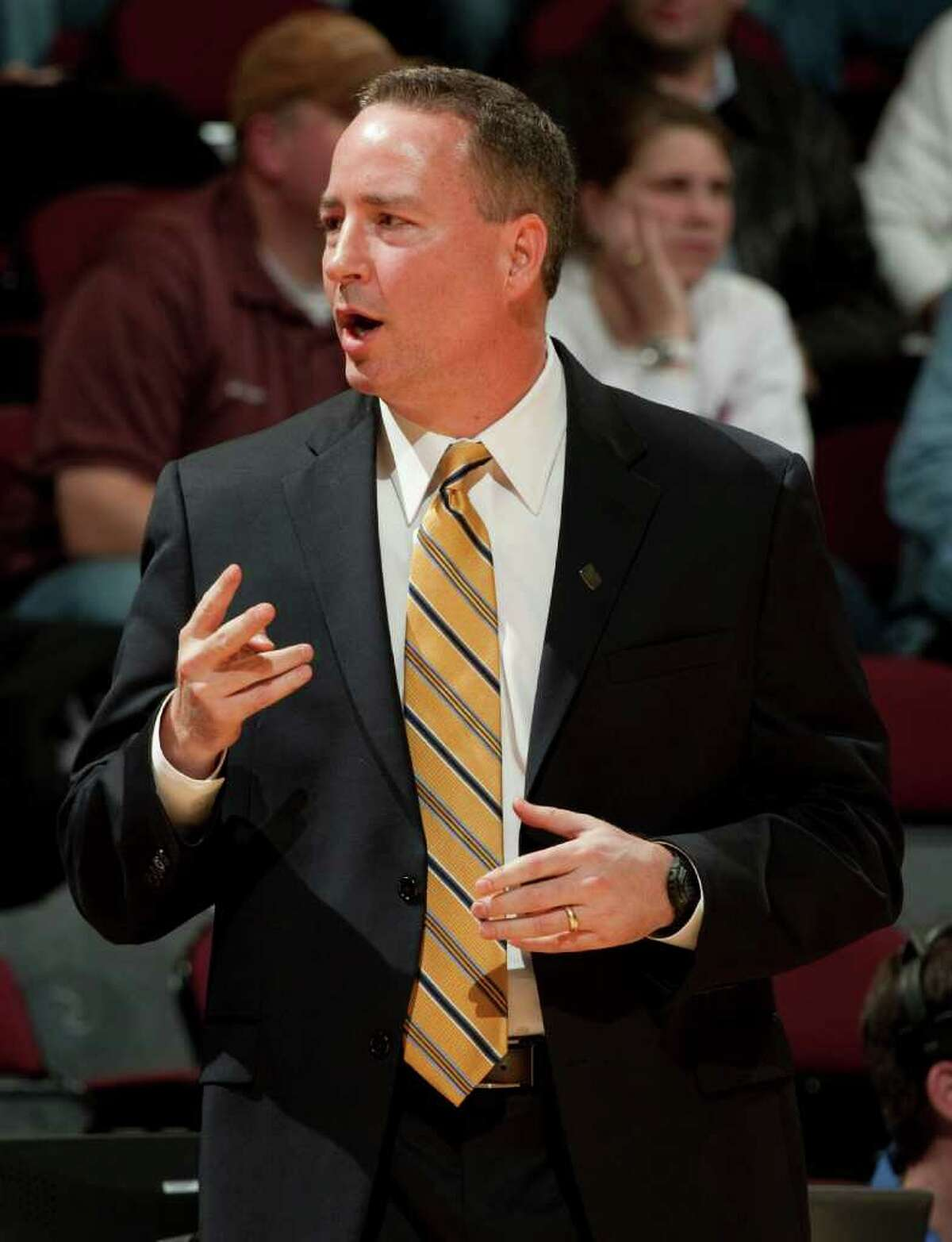 Texas A&M head coach Billy Kennedy directs his team during the second half of an NCAA college basketball game against Sam Houston State, Wednesday, Dec. 7, 2011, in College Station, Texas. Texas A&M defeated Sam Houston State 64-37. (AP Photo/Dave Einsel)