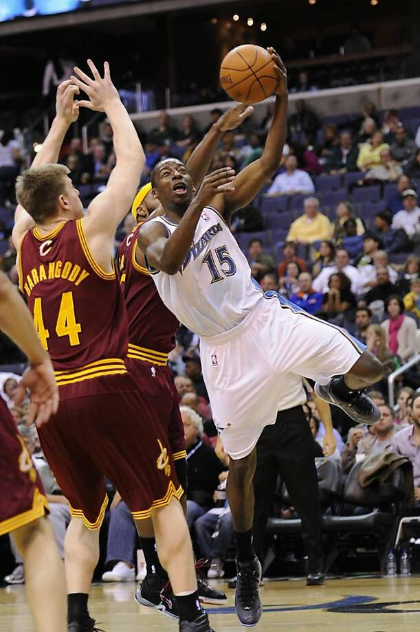 Washington Wizards shooting guard Jordan Crawford (15) goes to the basket against Cleveland Cavaliers forward Luke Harangody (44) during the second half of an NBA basketball game, Friday, April 1, 2011, in Washington. The Wizards won 115-107. Photo: Nick Wass, AP