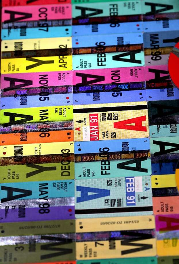 A detail from a panel of John Kuzich's FastPass artwork, made from 720 old Muni Fast Passes. Photo: Brant Ward, The Chronicle.