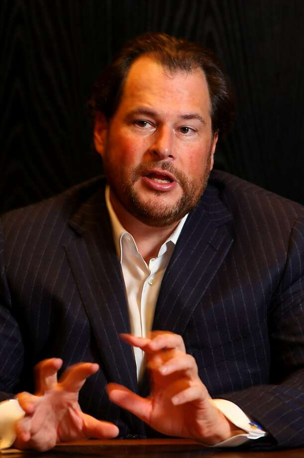 """Marc Benioff, the CEO of Salesforce.com and the publisher of a new book """" Behind the Cloud"""", tells the story behind the rise of his company and the death of software, Monday Nov. 9, 2009, in San Francisco, Calif. Photo: Lacy Atkins, The Chronicle"""