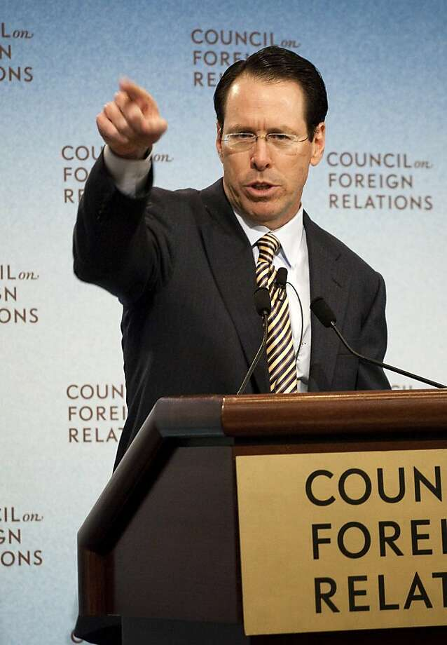 Randall Stephenson, chairman and chief executive officer of AT&T Inc., speaks at the Council on Foreign Relations in New York, U.S., on Wednesday, March 30, 2011. Stephenson, making his case for a proposed $39 billion acquisition of T-Mobile USA, said the tie-up would improve Apple Inc. iPhone service and could reduce overseas roaming charges. Photographer: Michael Nagle/Bloomberg *** Local Caption *** Randall Stephenson Photo: Michael Nagle, Bloomberg