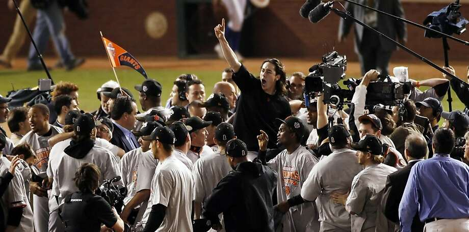 Winning pitcher, Tim Lincecum is lifted up on teammates shoulders as the Giants celebrate on the field after winning the final game of the World Series.The San Francisco Giants defeated the Texas Rangers 3-1 in Game 5 of the 2010 World Series.  Photo: Carlos Avila Gonzalez, The Chronicle