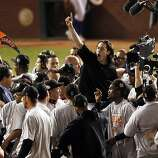 Winning pitcher, Tim Lincecum is lifted up on teammates shoulders as the Giants celebrate on the field after winning the final game of the World Series.The San Francisco Giants defeated the Texas Rangers 3-1 in Game 5 of the World Series at Rangers BallpWinning pitcher, Tim Lincecum is lifted up on teammates shoulders as the Giants celebrate on the field after winning the final game of the World Series.The San Francisco Giants defeated the Texas Rangers 3-1 in Game 5 of the World Series at Rangers Ballpark in Arlington, Tx, on Monday, November 1, 2010.  Ran on: 11-02-2010 The Giants' Tim Lincecum gets a ride on teammates' shoulders after winning a pitchers duel with the Rangers' Cliff Lee for the world championship. Ran on: 11-02-2010 The Giants' Tim Lincecum gets a ride on teammates' shoulders after winning a pitchers' duel with the Rangers' Cliff Lee for the world championship. Ran on: 11-03-2010 Photo caption Dummy text goes here. Dummy text goes here. Dummy text goes here. Dummy text goes here. Dummy text goes here. Dummy text goes here. Dummy text goes here. Dummy text goes here.###Photo: giants02_PHa11288396800SFC###Live Caption:Winning pitcher, Tim Lincecum is lifted up on teammates shoulders as the Giants celebrate on the field after winning the final game of the World Series.The San Francisco Giants defeated the Texas Rangers 3-1 in Game 5 of the World Series at Rangers Ballpark in Arlington, Tx, on Monday, November 1, 2010.###Caption History:Winning pitcher, Tim Lincecum is lifted up on teammates shoulders as the Giants celebrate on the field after winning the final game of the World Series.The San Francisco Giants defeated the Texas Rangers 3-1 in Game 5 of the World Series at Rangers Ballpark in Arlington, Tx, on Monday, November 1, 2010.###Notes:Notes, Contacts, Name CQ's here###Special Instructions:**MANDATORY CREDIT FOR PHOTOG AND SAN FRANC