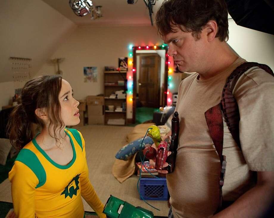 Ellen Page and Rainn Wilson in SUPER, directed by James Gunn. Photo: Steve Dietl, IFC Films