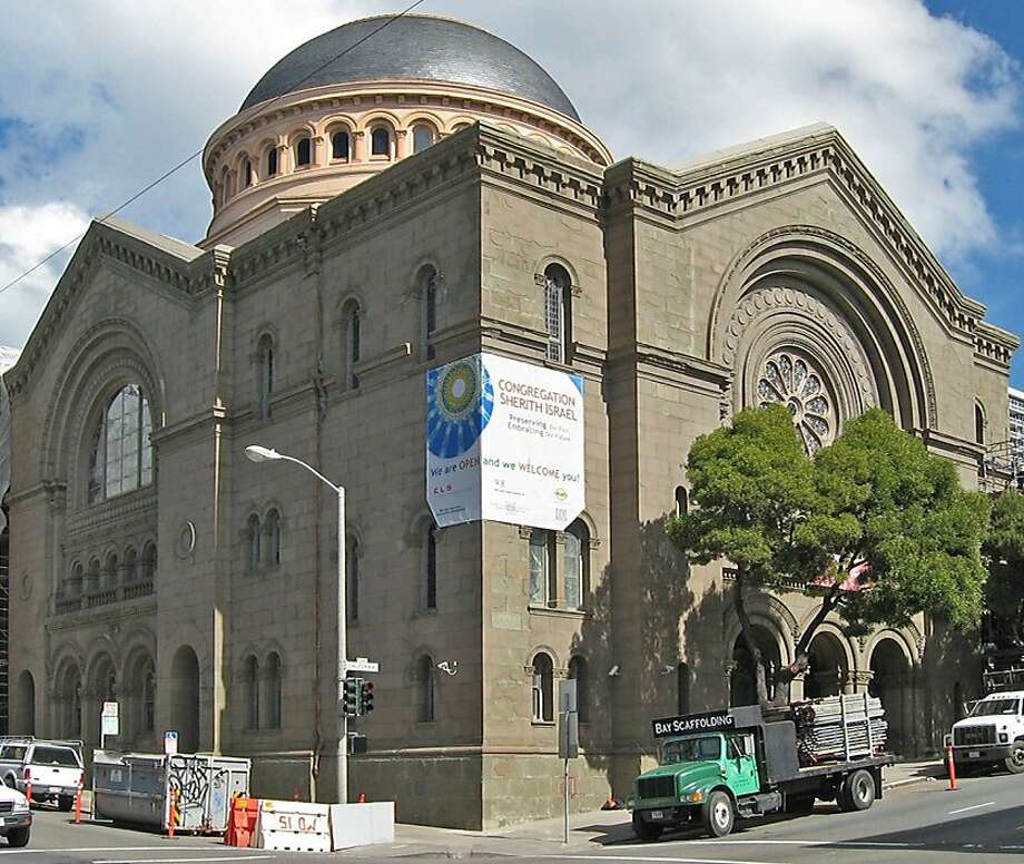 The restoration of 1905's Congregation Sherith Israel included the removal of salmon-hued paint from its sandstone exterior, bringing back the synagogue's original powerful presence. Photo: Diana Hayton/ELS