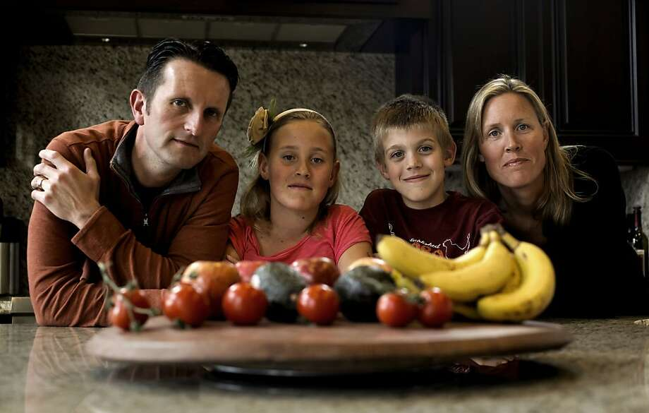 Alan, Julia, Mark, and Monica Laurlund at their  Alamo, Ca. home on Saturday Mar. 26, 2011. They were recent participants in a study to see if food packaging has an affect on the levels of BPA (bisphenol A) in their bodies. The study asked them to eliminate all canned food packaging from their diet for just three days, their levels of BPA dropped an average of 60 percent. Photo: Michael Macor, The Chronicle