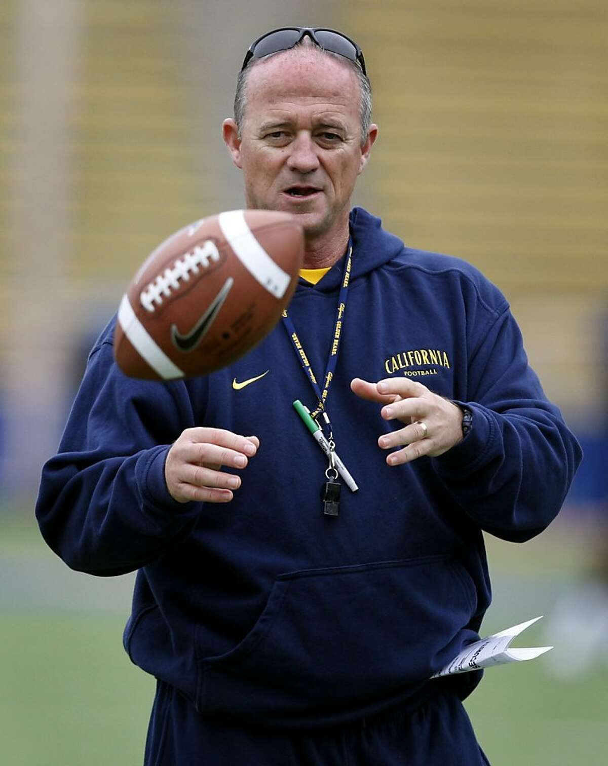 Head coach Jeff Tedford supervises the Cal Bears football practice at Memorial Stadium in Berkeley, Calif. on Friday, Aug. 27, 2010.