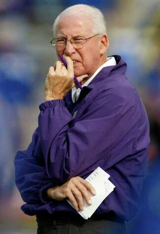 FILE - In this Oct. 22, 2011, file photo, Kansas State coach Bill Snyder looks on before an NCAA college football game against Kansas in Lawrence, Kan.  Snyder is the runaway pick as the AP Big 12 coach of the year. Photo: AP