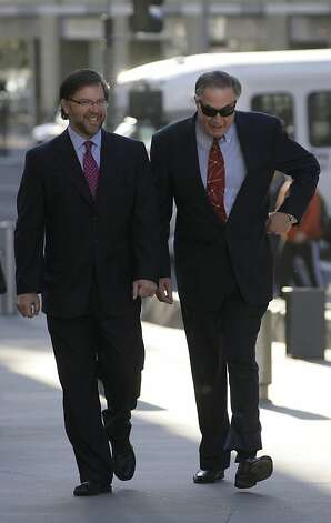 San Francisco Giants clubhouse manager Mike Murphy, right, arrives at federal court for the criminal trial of former baseball player Barry Bonds in San Francisco, Monday, March 28, 2011. Photo: Jeff Chiu, AP