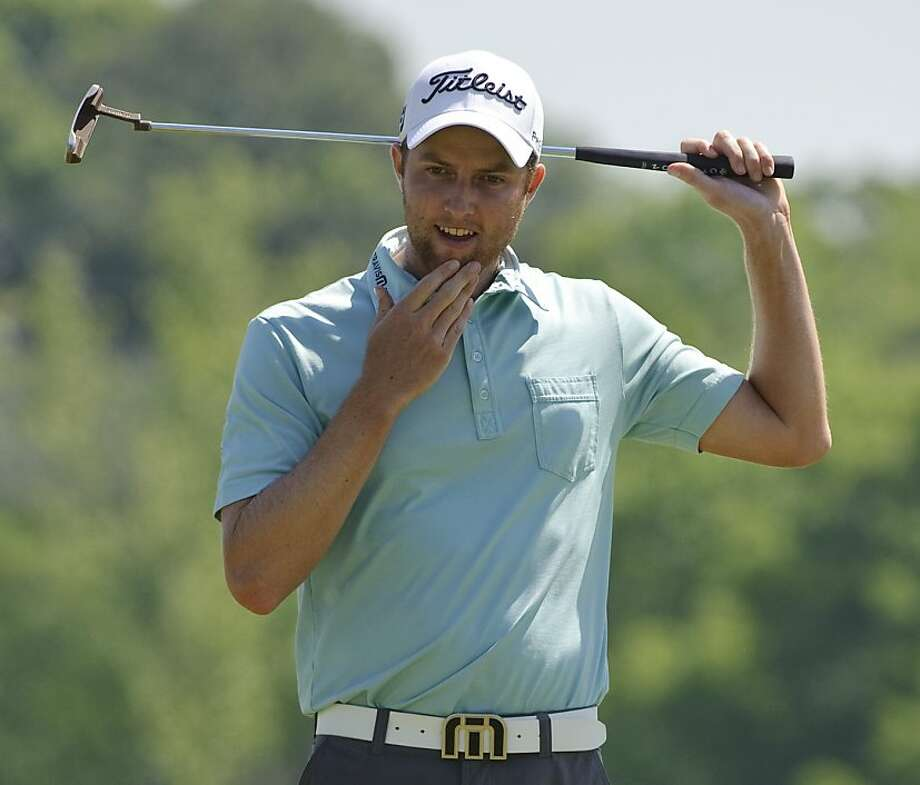 Chris Kirk reacts after missing a birdie putt on the first hole during the second round of the Houston Open PGA Tour golf tournament, Friday, April 1, 2011, in Humble, Texas. Photo: Dave Einsel, AP