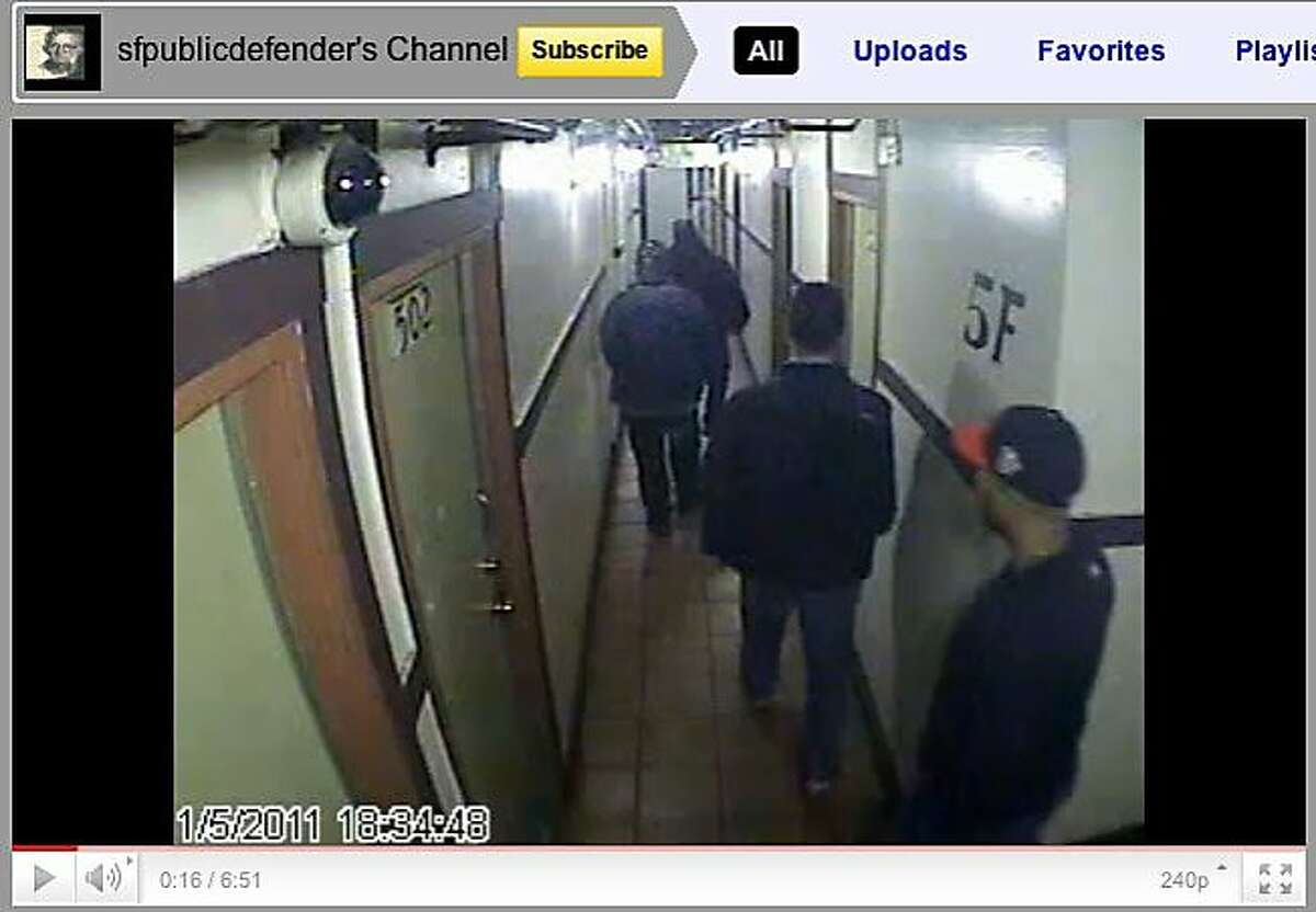 Screengrab from the SF Public Defenders YouTube channel, showing footage from the Henry Hotel on Jan 5, 2011. Surveillance video from the Henry Hotel reveals that San Francisco Police Department narcotics officers falsified police reports in order to justify searching residences without warrants or consent.