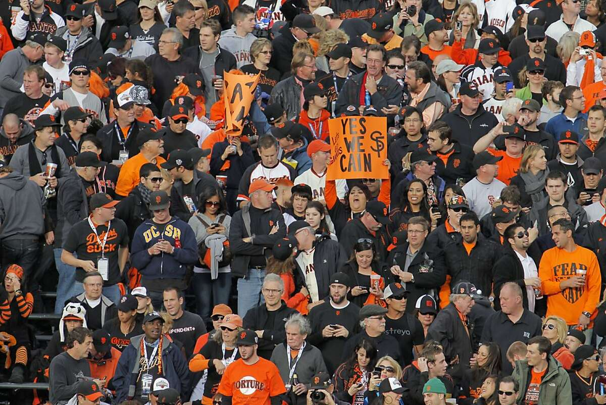 Fans show their faith in Matt Cain as the San Francisco Giants take on the Texas Rangers in Game 2 of the World Series at AT&T Park in San Francisco, Calif., on Thursday, October 28, 2010.