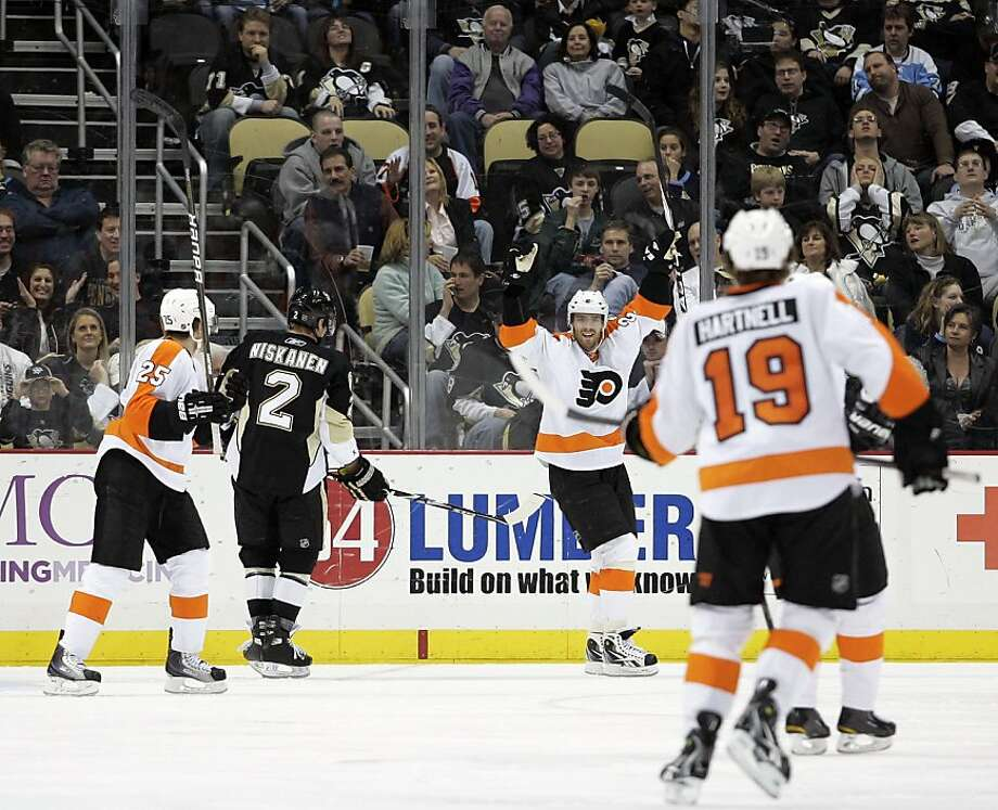 PITTSBURGH, PA - MARCH 29:  Ville Leino #22 of the Philadelphia Flyers celebrates his first third period goal against the Pittsburgh Penguins at Consol Energy Center on March 29, 2011 in Pittsburgh, Pennsylvania.  The Flyers defeated the Penguins 5-2. Photo: Justin K. Aller, Getty Images