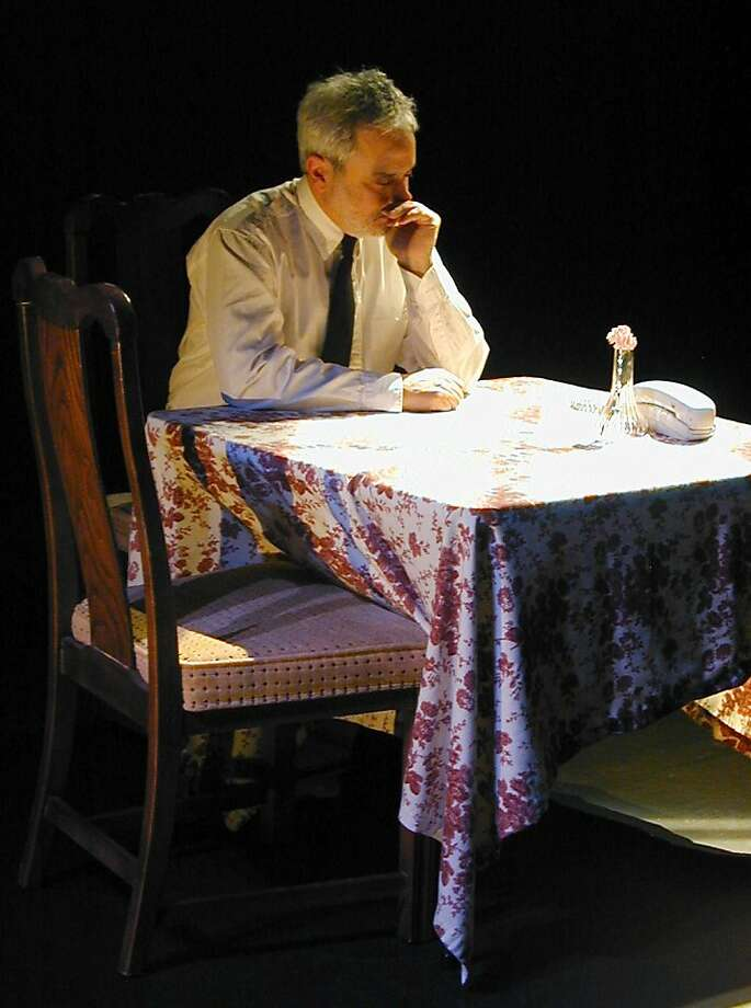 """Mr. Theatre (David Sinaiko) contemplates a flower in Will Eno's """"Mr. Theatre Comes Home Different"""" at Cutting Ball Theater Photo: Rob Melrose"""