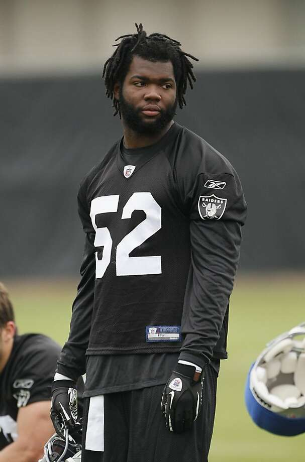 Oakland Raiders linebacker Quentin Groves during their football training camp in Napa, Calif., Friday, July 30, 2010. (AP Photo/Eric Risberg) Photo: Eric Risberg, ASSOCIATED PRESS