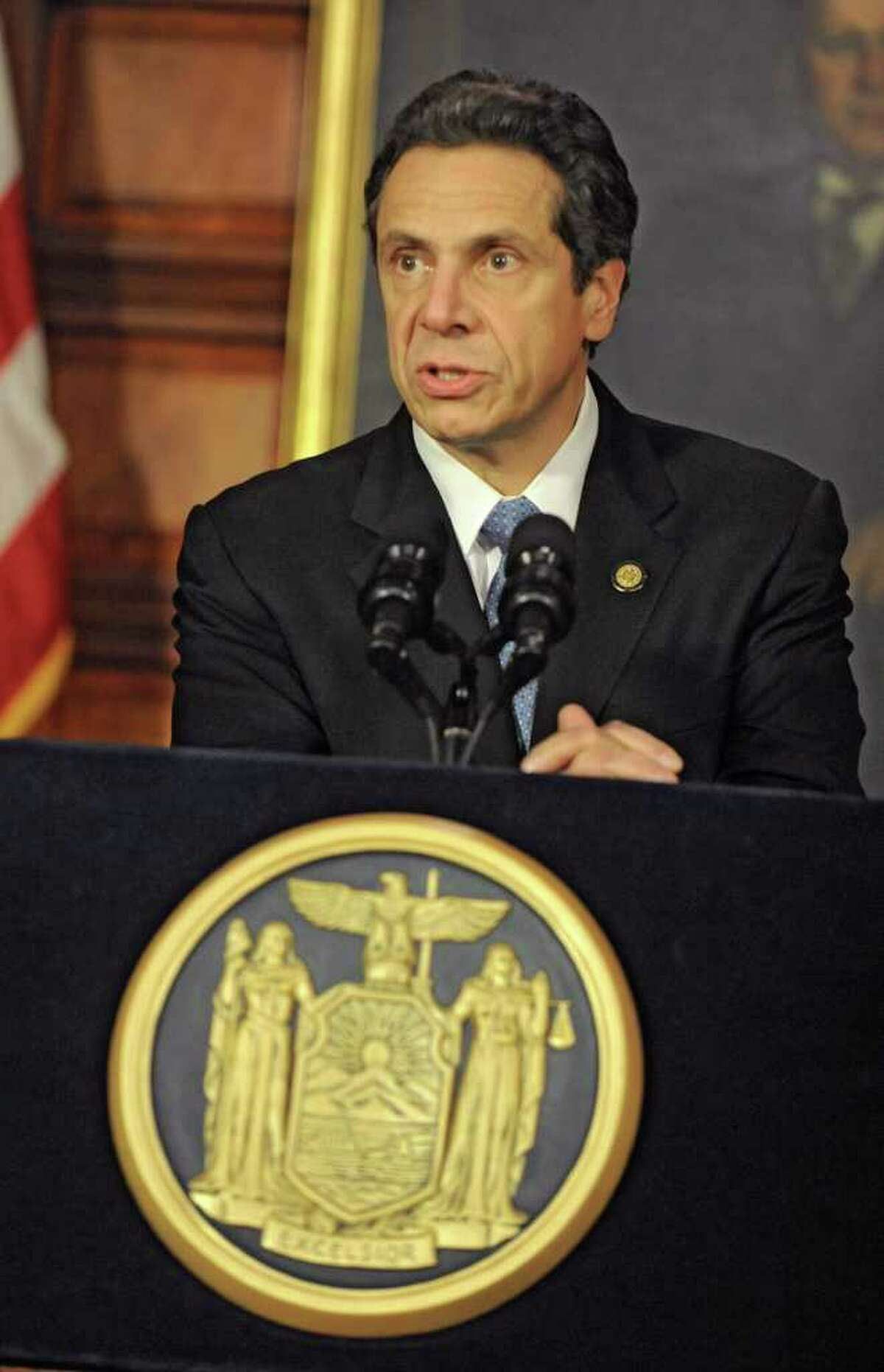 NYS Governor Andrew Cuomo answers questions at a press conference during a special session at the Capitol on Wednesday, Dec. 7, 2011 in Albany, N.Y. (Lori Van Buren / Times Union)