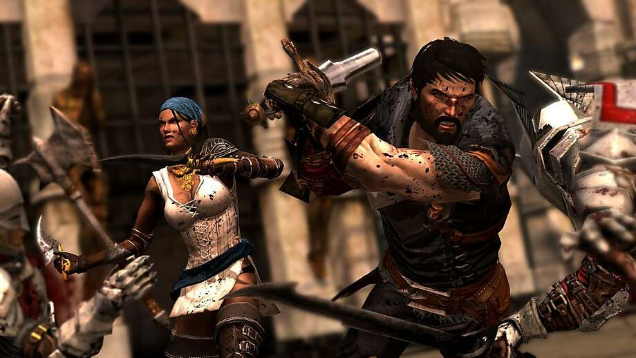 Hawke (right), a refugee of war-torn Ferelden, rises to power and influence in his adapted home of Kirkwall with some friendly help in BioWare's fantasy role-playing game, Dragon Age II Photo: BioWare, Electronic Arts