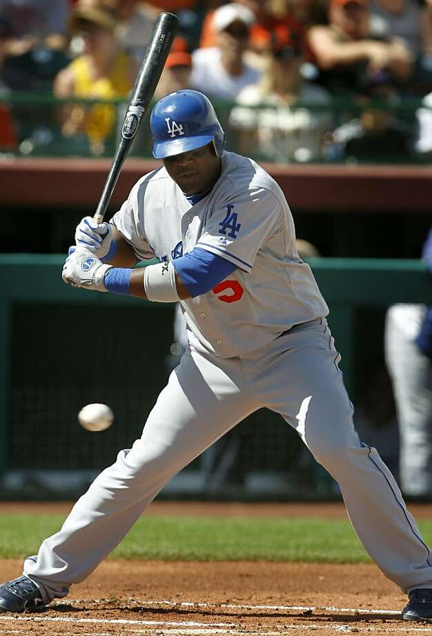 The Dodgers' Juan Uribe let a called strike past him in his first at-bat against his former team in the Giants 6-3 loss to the Los Angeles Dodgers in a spring training baseball game at Scottsdale Stadium in Scottsdale, Ariz. on Friday, March 18, 2011. Photo: Paul Chinn, The Chronicle