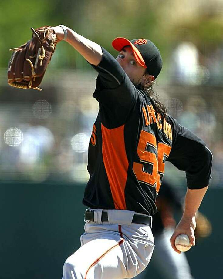 Tim Lincecum improved his Cactus League record to 3-0 with the Giants 5-3 win over the Chicago White Sox in a spring training baseball game at Camelback Ranch stadium in Glendale, Ariz. on Wednesday, March 16, 2011. Photo: Paul Chinn, The Chronicle
