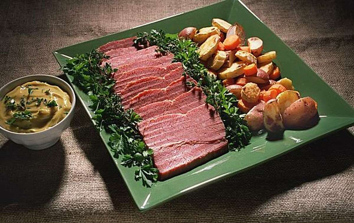 Corned beef with roasted vegetables for St. Patrick's Day.