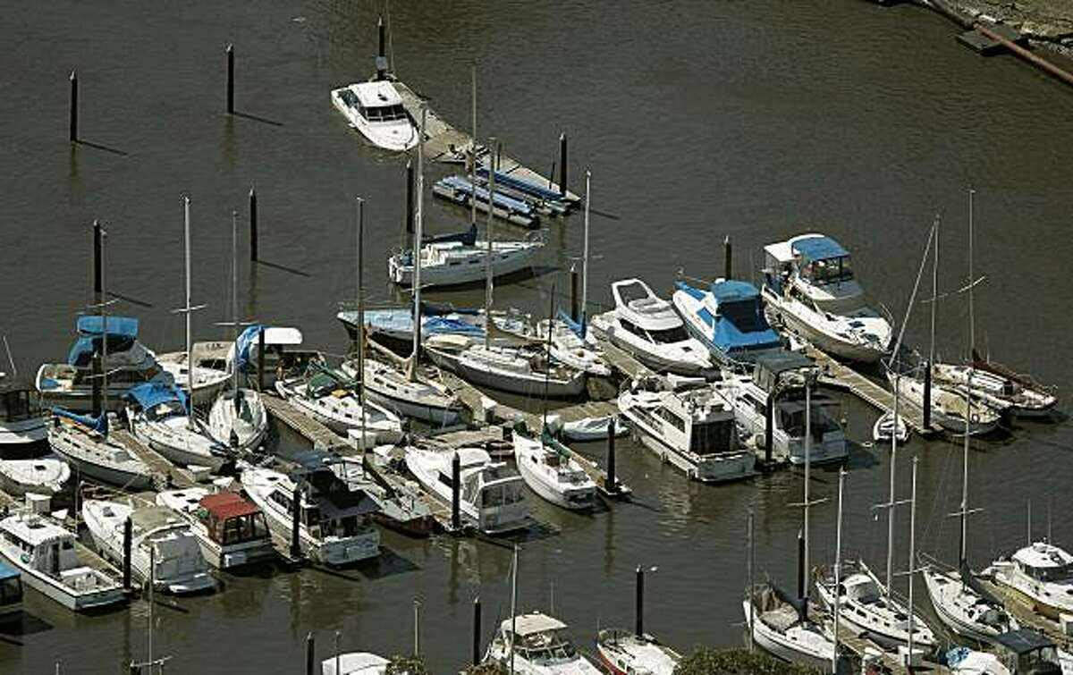Boats are jammed into each other at the Santa Cruz Harbor in Santa Cruz, Ca., on Friday March, 11, 2011, following the aftermath of the hugh Japan earthquake which triggered a tsunami that reached the West Coast of California today.