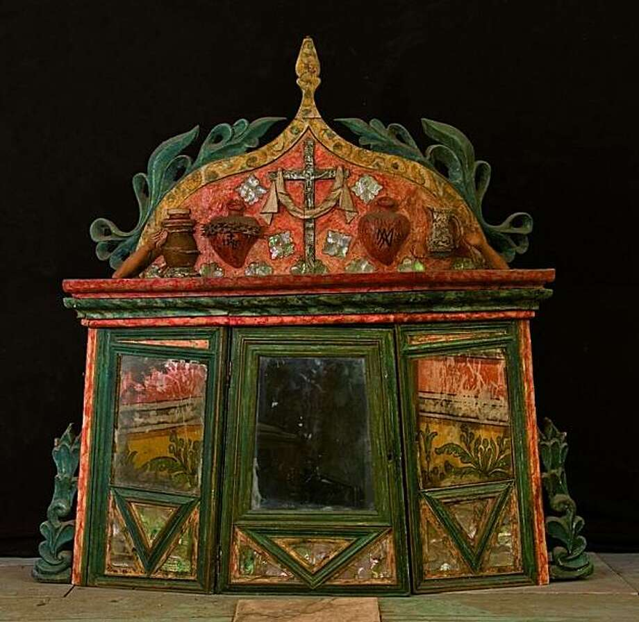 Tabernacle, Anonymous, Chumash, ca. 1790. Polychromed wood with shell inlay and glass mirror. Courtesy of the Franciscans and of Kristina W. Foss, Director of Mission Santa Barbara, Santa Barbara, California. Photo: Splendors Of Faith, Oakland Museum Of California