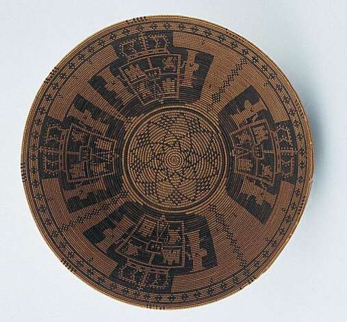 Basketry Bowl with Heraldic Designs, Anonymous,  Chumash, early 19th century. Plant fibers, 12 ¼ inches (31 cm) diameter; 3 7/8 inches (10 cm) height. Museo Franz Meyer, Mexico City. Photo: Johansen Krause