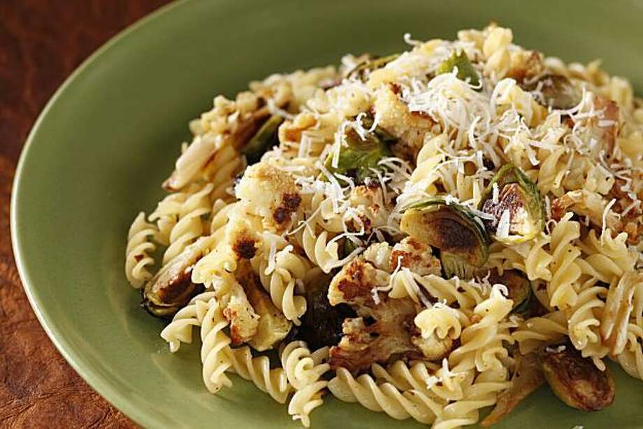 Roasted brussels sprouts & cauliflower pasta with citrus oil as seen in San Francisco, California, on January 19, 2011. Food styled by Lynne Char Bennett. Photo: Craig Lee, Special To The Chronicle